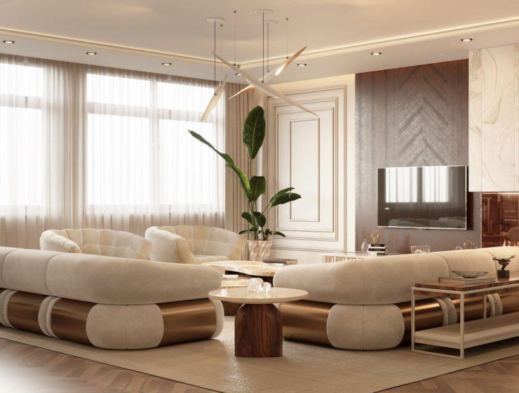 A Contemporary Modern Living Room Inside A Monaco Penthouse