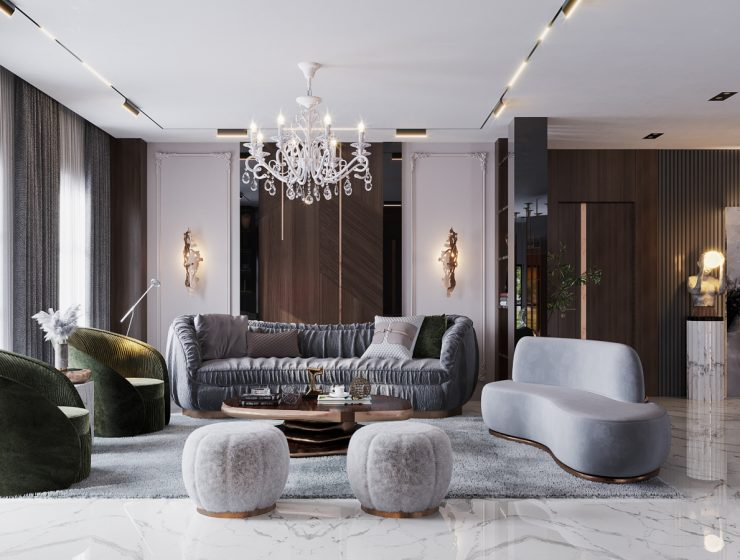 An Opulent Modern Classic Living Room In Riyadh